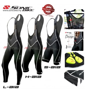 READY STOCK Sonicbike Premium Cycling Bib Short 3/4 Long - BIB BLACK
