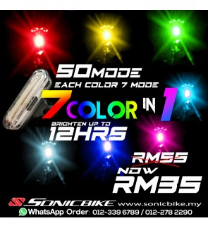 READY STOCK 7 COLORS IN 1 LED Rechargeable Tail Light Blinker - 50 MODES